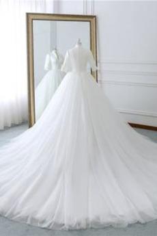 Robe de mariage Naturel taille Formelle Longue Col en V De plein air