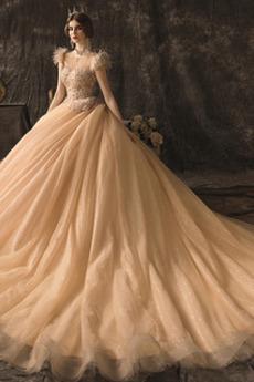 Robe de mariée A-ligne Manche Aérienne Laçage Norme Perle Scintillait