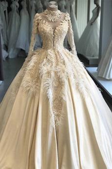 Robe de mariée Gaze Manche Longue a ligne Manche Aérienne Cathédrale