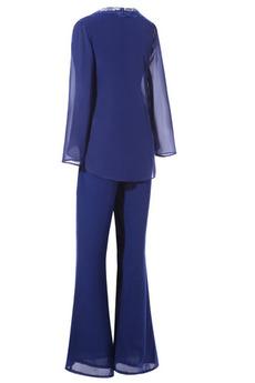 Robe mères Chiffon Longueur Cheville Manche Longue Avec des pantalons