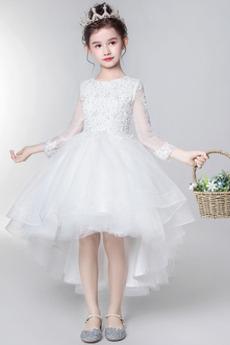 Robe de fille de fleur Manche de T-shirt noble Manche Longue