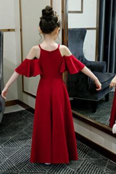 Robe de fille de fleur Manquant A-ligne Bretelles Spaghetti Mancheron