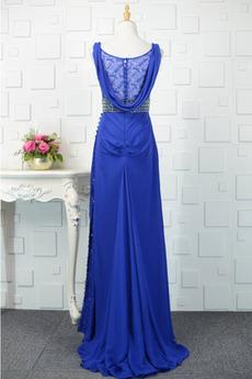 Robe de soirée Bleu Col en V Sans Manches Mariage Moderne Perlé