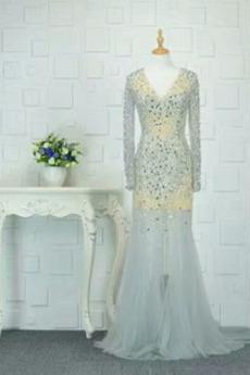 Robe de soirée Tulle Perle Festin élancé Fourreau Avec Bijoux