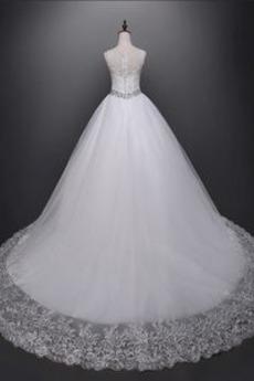 Robe de mariée Vintage Soie d'art Col Bateau Naturel taille aligne