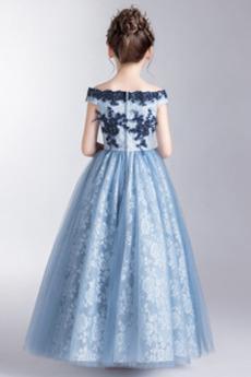 Robe de fille de fleur Longueur Mollet Mancheron Poire Fourreau Avec Bijoux