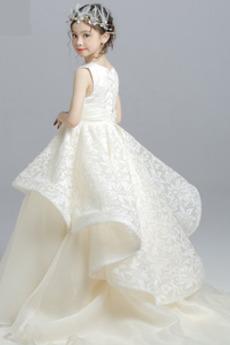 Robe de fille de fleur a ligne Mariage Balançoire Manquant Sans Manches