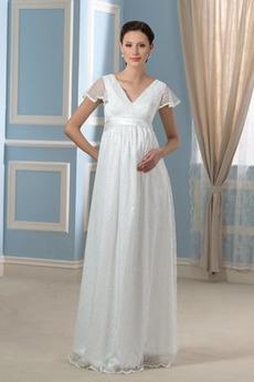Robe de mariée Taille haute Elégant Col en V ride De plein air