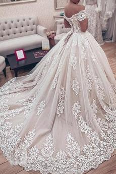 Robe de mariée Manche Courte Couvert de Dentelle Naturel taille