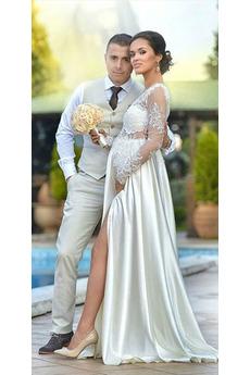 Robe de mariage Col en V Jardin Drapé Gaze Manche Aérienne Naturel taille