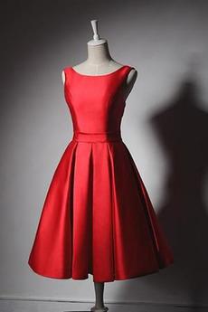 Robe de demoiselle d'honneur Rouge Glamour Nœud à Boucles A-ligne