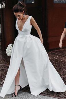 Robe de mariage Dos nu Manquant Satin Ouverture Frontale Col en V
