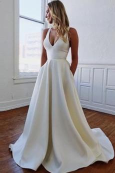 Robe de mariée Printemps Jardin Manquant Drapé Elégant Col en V