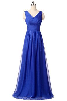 Robe de soirée Bleu Chiffon Été aligne ride Festin Fermeture à glissière