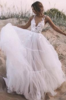 Robe de mariée Col en V Foncé Longueur au sol Sans Manches Col en V