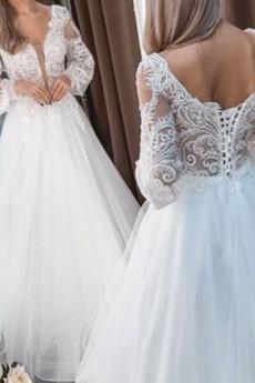 Robe de mariage Naturel taille Longueur de plancher Manche de T-shirt
