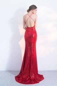 Robe de bal Sexy Entrecroisé Fourreau Pailleté Col en V Manquant