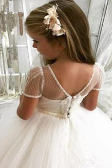 Robe de fille de fleur A-ligne Printemps Tulle Perle Médium Manche Aérienne