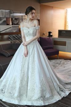 Robe de mariage Dentelle A-ligne Naturel taille Manche Courte