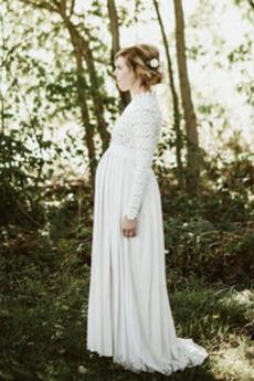 Robe de mariée Taille haute Elégant Longueur de plancher Couvert de Dentelle