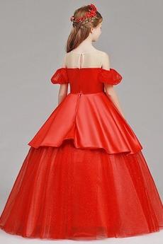 Robe de fille de fleur Tulle A-ligne Rosée épaule Trou De Serrure