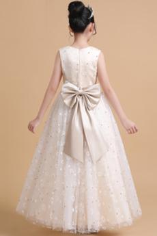 Robe de fille de fleur Luxueux Fermeture à glissière Tulle Ceinture en Étoffe