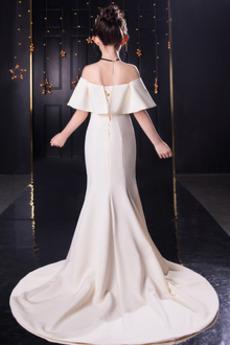 Robe de fille de fleur Fourchure Frontale Longue Près du corps