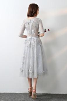 Robe de demoiselle d'honneur Nœud à Boucles Naturel taille Fermeture à glissière