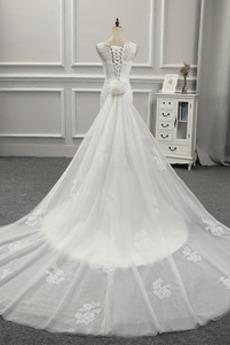 Robe de mariée Col U Profond Bouton Classique Petites Tailles