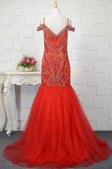 Robe de bal Taille chute Sans Manches Perle Vintage Rosée épaule
