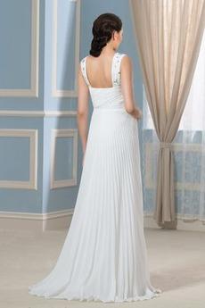 Robe de mariée Sans Manches Fourreau plissé Plage Taille haute
