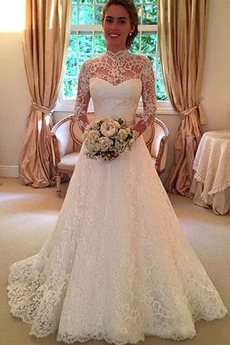 Robe de mariage Manche Aérienne Dentelle Manquant Col haut De plein air