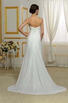 Robe de mariée Simple élancé Bretelles Spaghetti Jardin Naturel taille