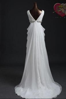 Robe de mariée taille haut Taille haute Glissière De plein air