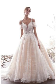 Robe de mariage Vintage aligne Drapé Médium Longue Organza Manche Courte