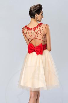 Robe de bal Courte Satin Glamour Naturel taille Fête Nœud à Boucles