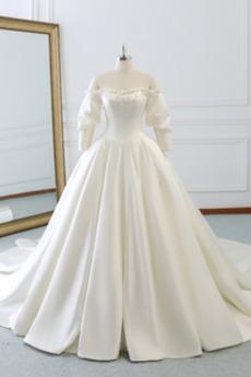 Robe de mariée Ancien Chapelle Traîne Longue Printemps A-ligne