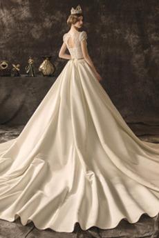 Robe de mariée Hiver Couvert de Dentelle A-ligne Dentelle Naturel taille