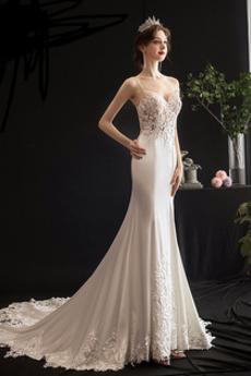 Robe de mariée Décalcomanie Sans Manches Naturel taille Bretelles Spaghetti