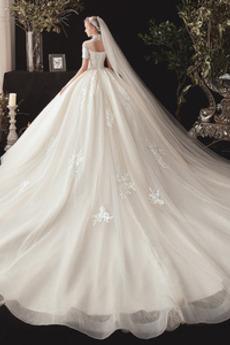 Robe de mariée Manche Courte Col haut Formelle Perle Organza