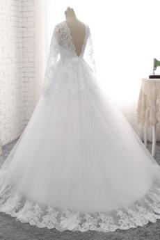 Robe de mariée Manche Aérienne Printemps Formelle Dentelle Couvert de Dentelle