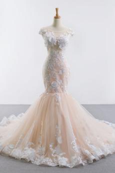 Robe de mariée Dos nu Sexy Plage Traîne Mi-longue Dentelle Automne