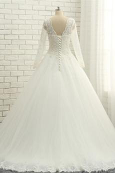 Robe de mariage Col en V Luxueux Longueur de plancher Chaussez