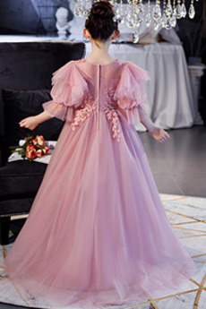 Robe de fille de fleur Décalcomanie Balançoire Manche Courte
