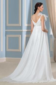 Robe de mariée Col en V Grandes Tailles taille haut Fourreau plissé