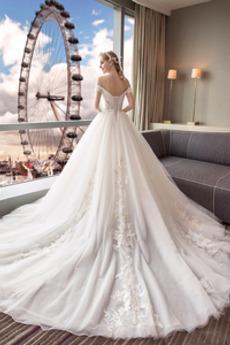 Robe de mariée Laçage Manche Courte A-ligne Naturel taille Décalcomanie