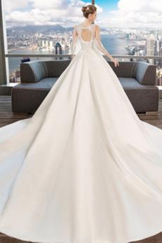 Robe de mariée Salle des fêtes Naturel taille Sans Manches a ligne