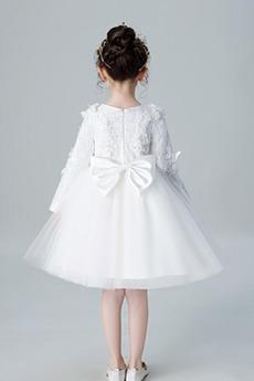 Robe de fille de fleur Manche de T-shirt Montrer Nœud à Boucles