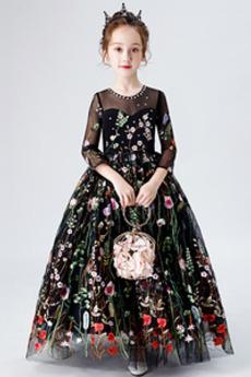 Robe de fille de fleur Fermeture à glissière Petit collier circulaire