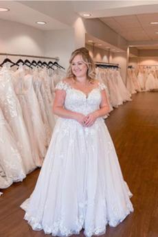 Robe de mariée Dentelle Longueur de plancher Rosée épaule noble